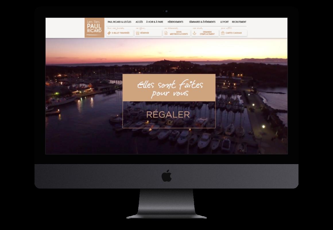 Mockup de la page d'accueil des Iles Paul Ricard