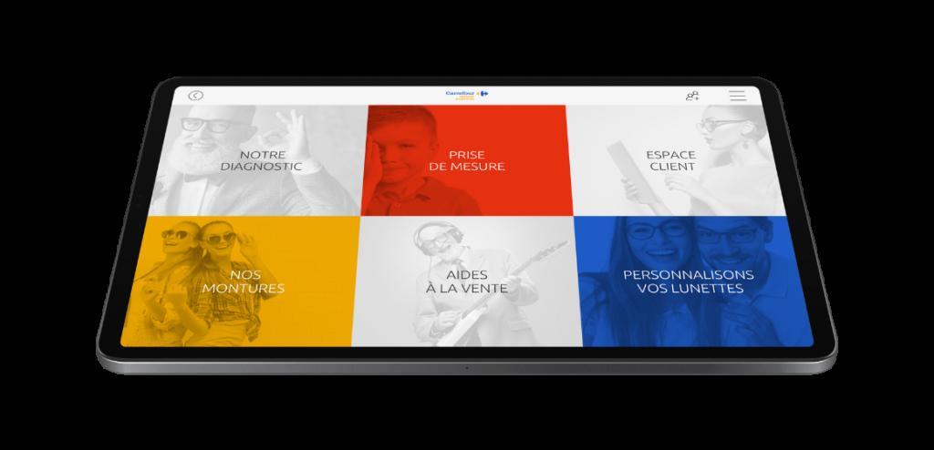 Interface utilisateur tablette vendeur Carrefour Optique