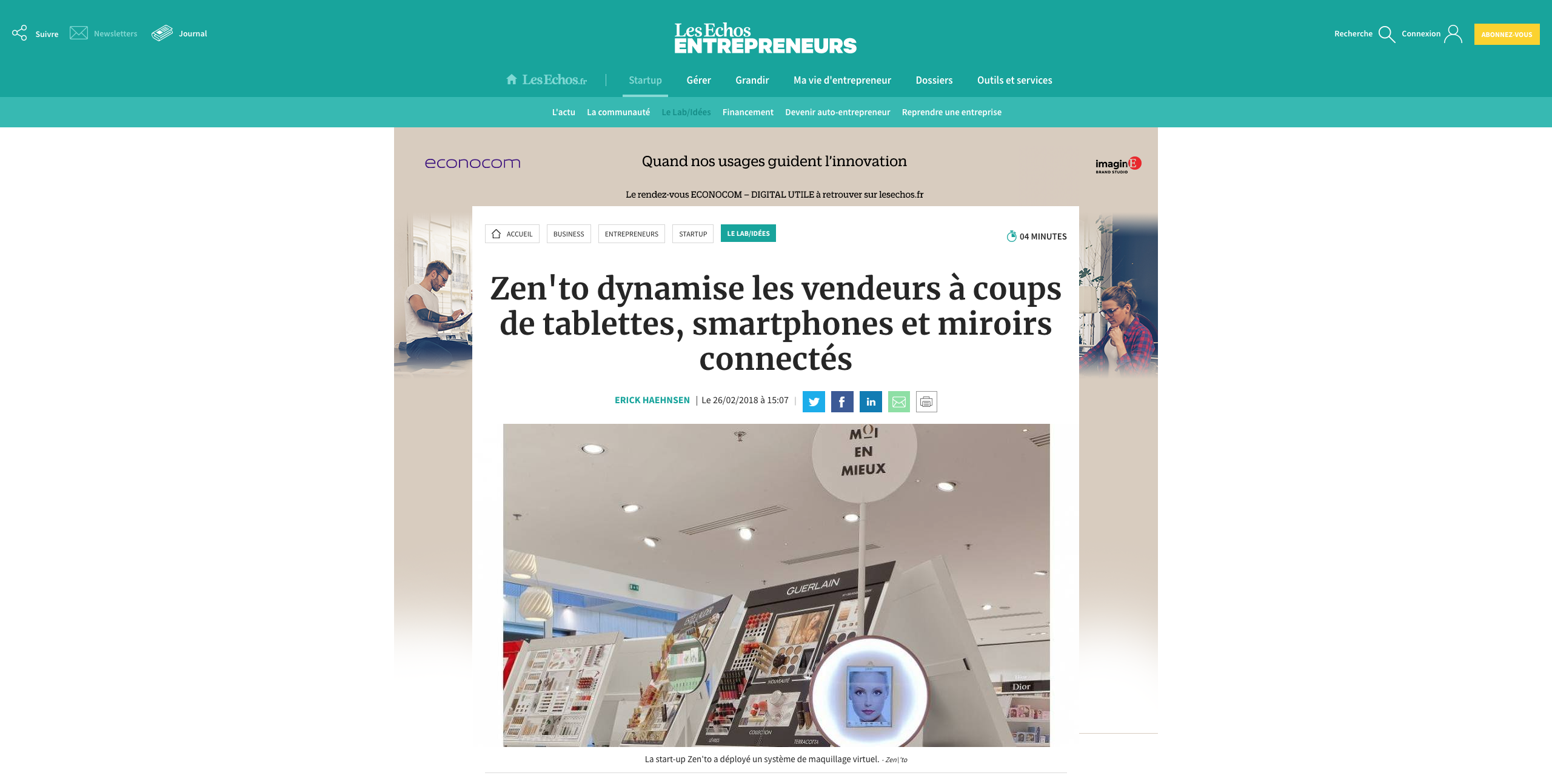 Capture d'écran de l'article sur Zen'to par le journal Les Echos