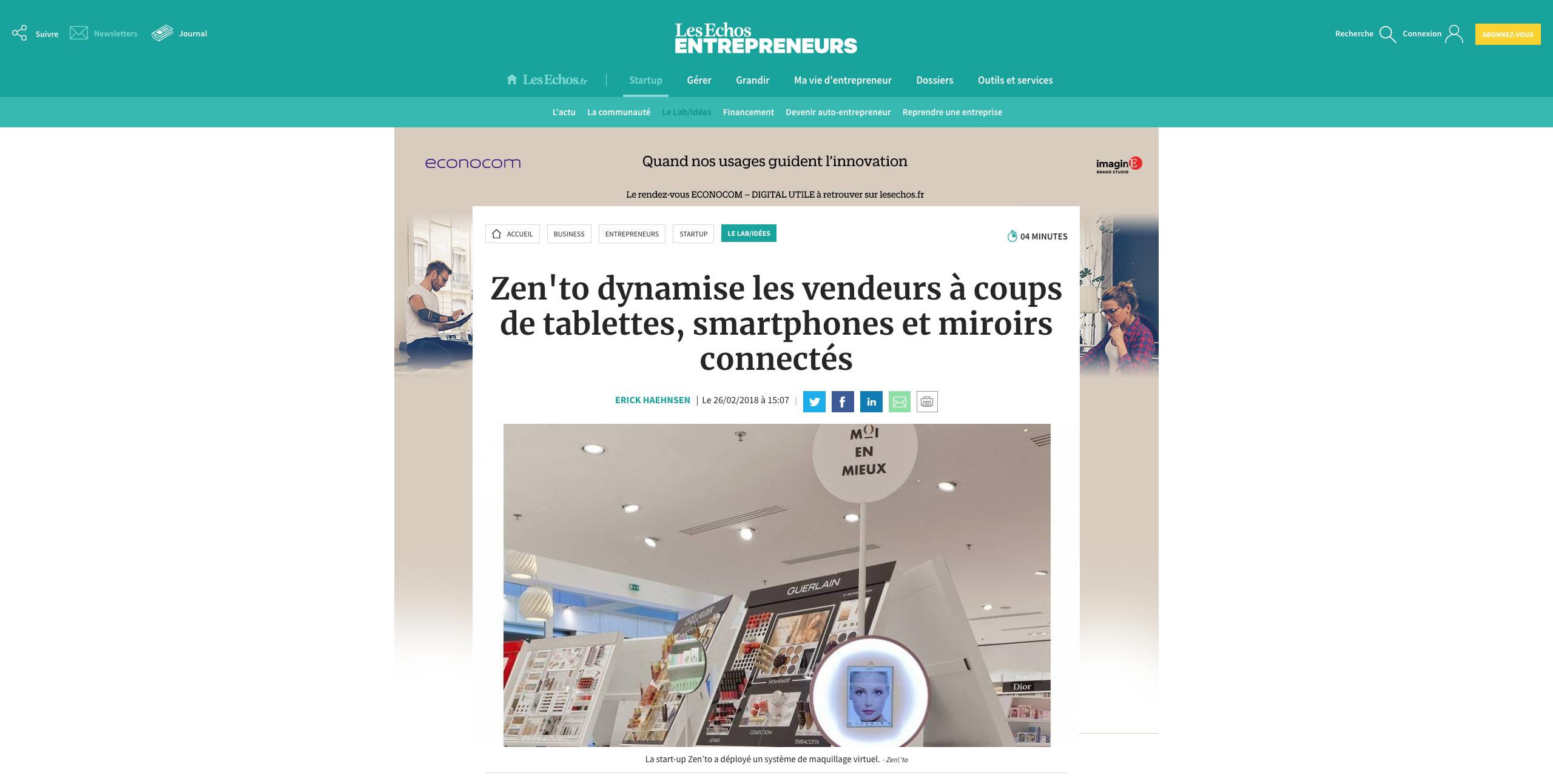 Capture d'écran de l'article sur Zen'to par le journal Les Echos