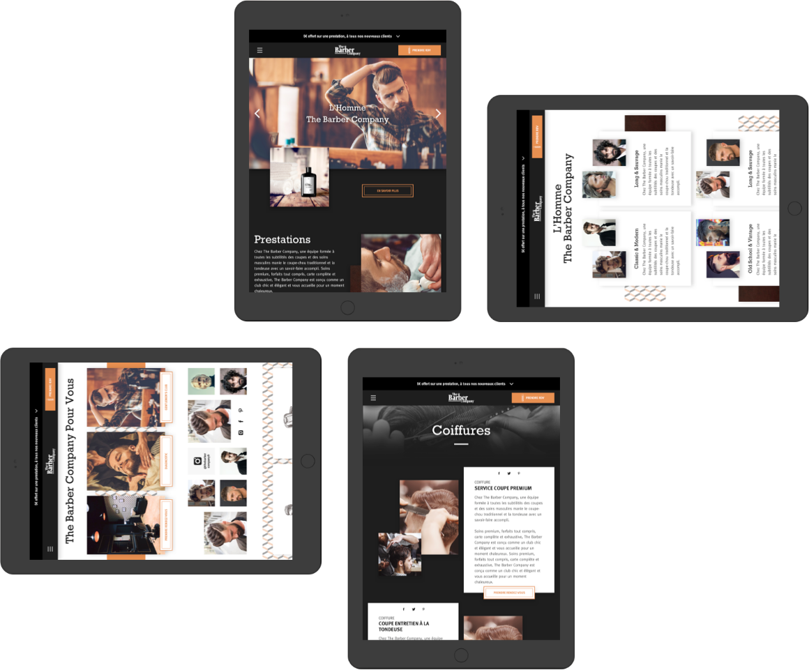 Interface tablette responsive The Barber Company
