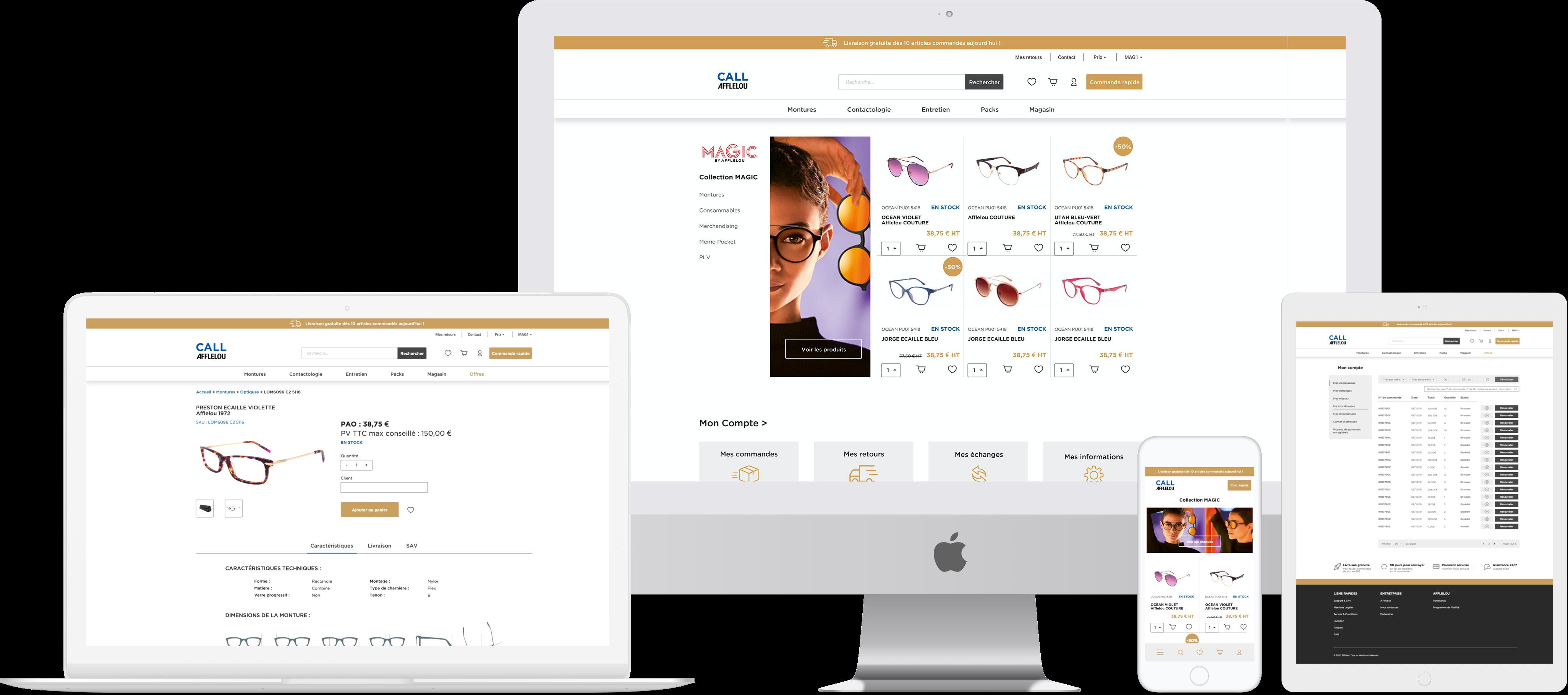 Interface site ecommerce BtoB Afflelou